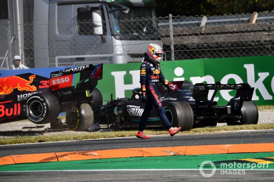 Max Verstappen, Red Bull Racing, walks away from his car after colliding with Lewis Hamilton, Mercedes W12